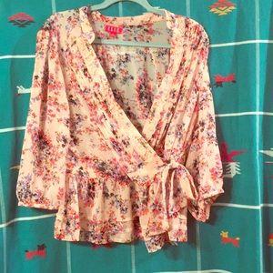 XL Elle pink chiffon floral print wrap top.